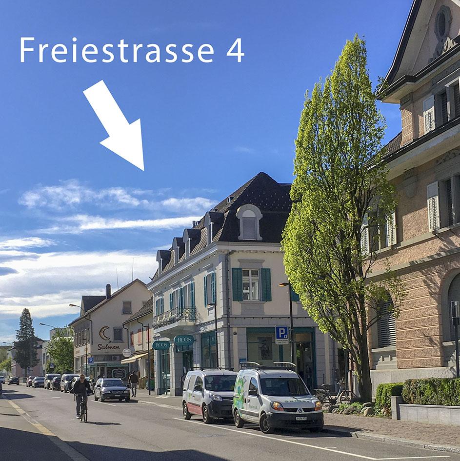 Anreise: Freiestrasse 4, 8610 Uster: Standort des Beratungsraumes von Stina Steiner-Sondheimer und Eugen Steiner in Uster